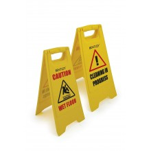 Wet floor /  cleaning caution warning plastic sign stand